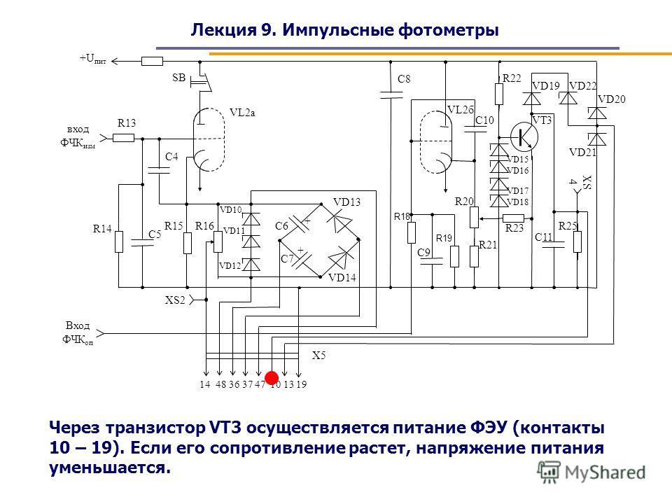 Лекция 9. Импульсные фотометры Через транзистор VT3 осуществляется питание ФЭУ (контакты 10 – 19). Если его сопротивление растет, напряжение питания уменьшается.