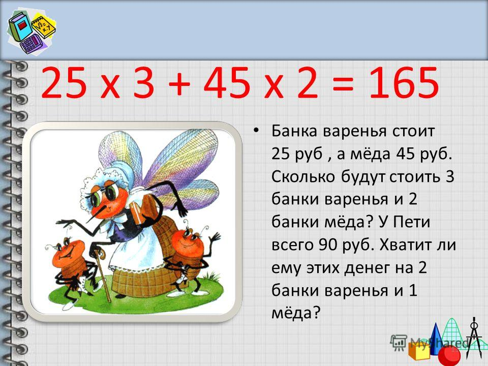 Банка варенья стоит 25 руб, а мёда 45 руб. Сколько будут стоить 3 банки варенья и 2 банки мёда? У Пети всего 90 руб. Хватит ли ему этих денег на 2 банки варенья и 1 мёда? 11 25 х 3 + 45 х 2 = 165