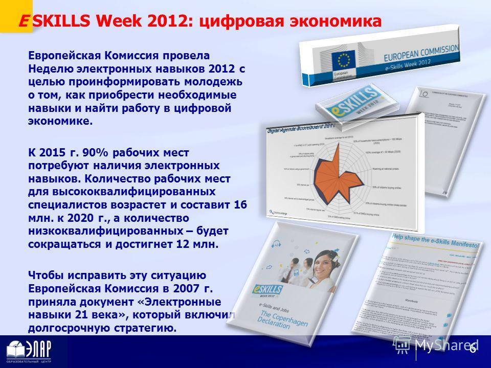 E SKILLS Week 2012: цифровая экономика Европейская Комиссия провела Неделю электронных навыков 2012 с целью проинформировать молодежь о том, как приобрести необходимые навыки и найти работу в цифровой экономике. К 2015 г. 90% рабочих мест потребуют н