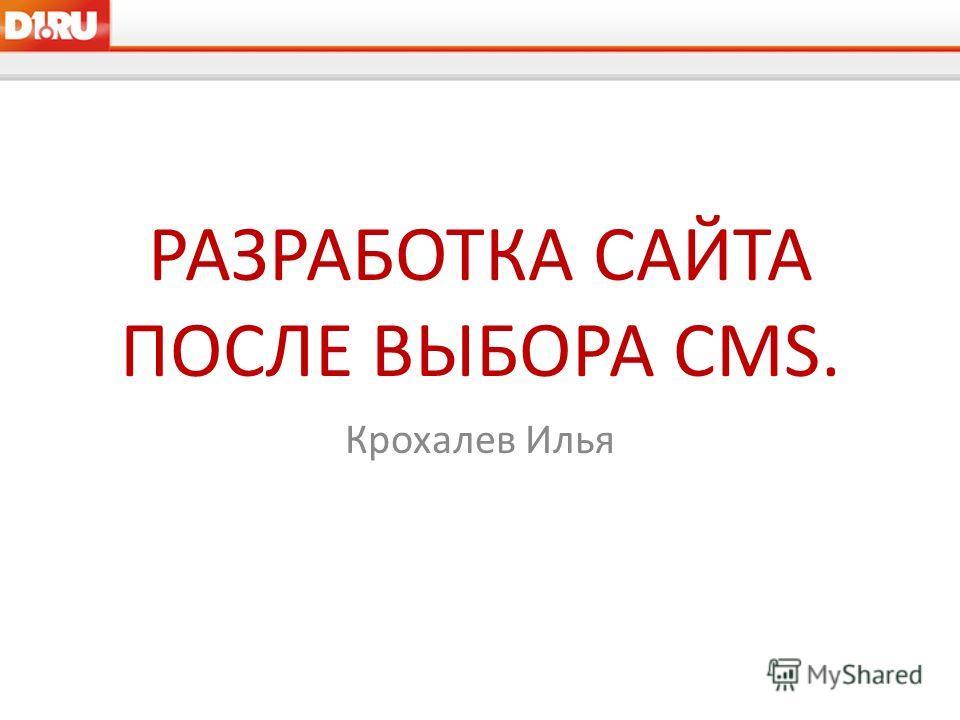 РАЗРАБОТКА САЙТА ПОСЛЕ ВЫБОРА CMS. Крохалев Илья