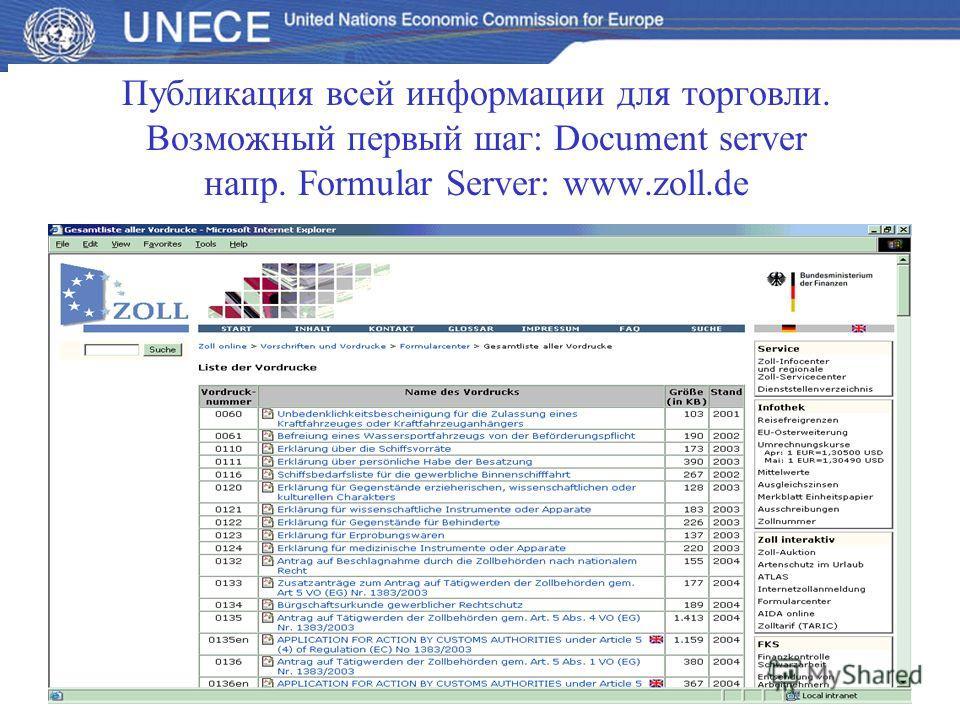 Публикация всей информации для торговли. Возможный первый шаг: Document server напр. Formular Server: www.zoll.de