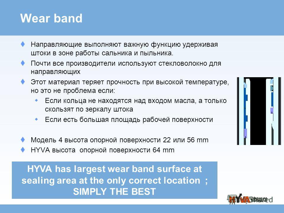 Wear band Направляющие выполняют важную функцию удерживая штоки в зоне работы сальника и пыльника. Почти все производители используют стекловолокно для направляющих Этот материал теряет прочность при высокой температуре, но это не проблема если: Если