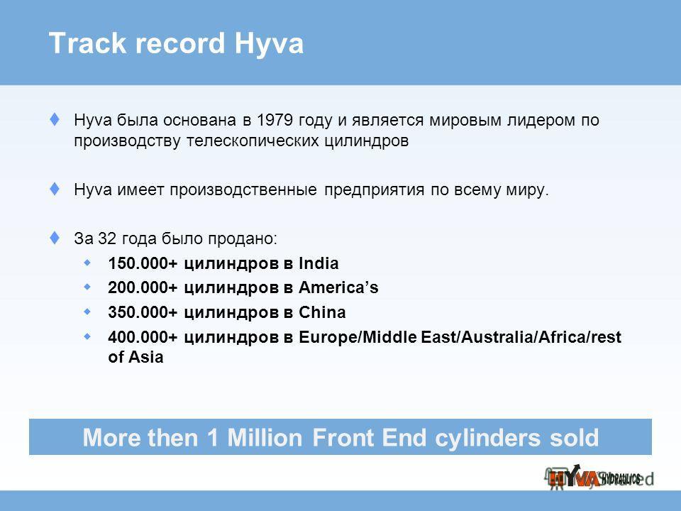 Track record Hyva Hyva была основана в 1979 году и является мировым лидером по производству телескопических цилиндров Hyva имеет производственные предприятия по всему миру. За 32 года было продано: 150.000+ цилиндров в India 200.000+ цилиндров в Amer