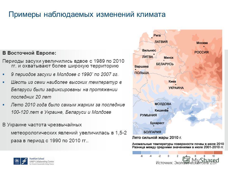 Примеры наблюдаемых изменений климата В Восточной Европе: Периоды засухи увеличились вдвое с 1989 по 2010 гг. и охватывают более широкую территорию 9 периодов засухи в Молдове с 1990 по 2007 гг. Шесть из семи наиболее высоких температур в Беларуси бы