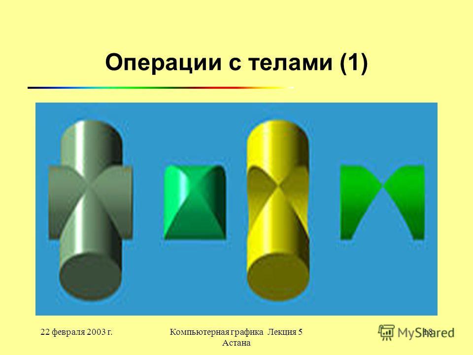 22 февраля 2003 г.Компьютерная графика Лекция 5 Астана 18 Операции с телами (1)