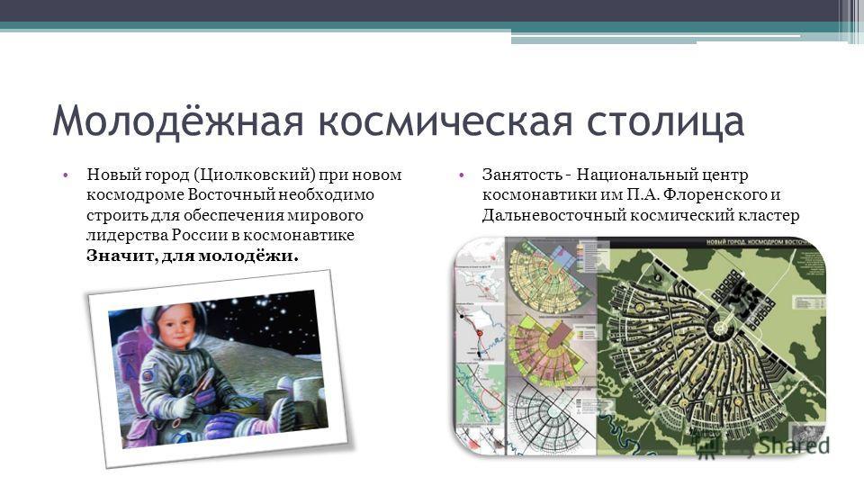 Молодёжная космическая столица Новый город (Циолковский) при новом космодроме Восточный необходимо строить для обеспечения мирового лидерства России в космонавтике Значит, для молодёжи. Занятость - Национальный центр космонавтики им П.А. Флоренского