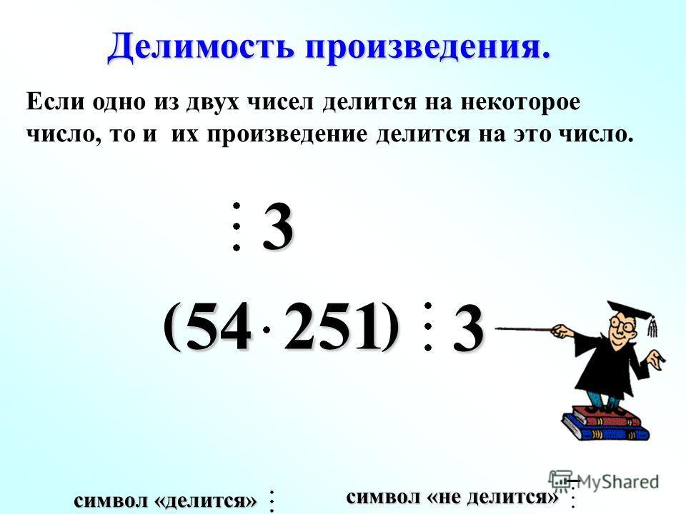 3 ( ) 5454251 Делимость произведения. 3 Если одно из двух чисел делится на некоторое число, то и их произведение делится на это число. символ «не делится» символ «делится»