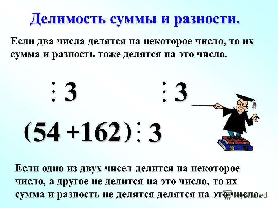 3 ( ) 5454162 Делимость суммы и разности. 3 Если два числа делятся на некоторое число, то их сумма и разность тоже делятся на это число. 162 3 + Если одно из двух чисел делится на некоторое число, а другое не делится на это число, то их сумма и разно
