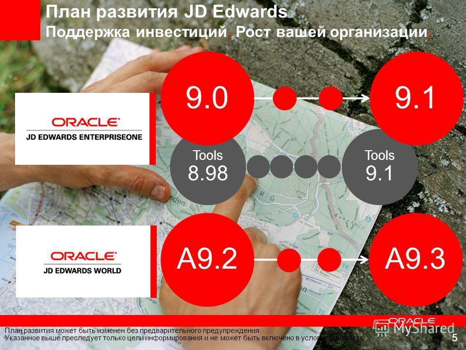 План развития JD Edwards Поддержка инвестиций. Рост вашей организации. Tools 9.1 Tools 8.98 9.0 A9.2 9.1 A9.3 План развития может быть изменен без предварительного предупреждения. Указанное выше преследует только цели информирования и не может быть в
