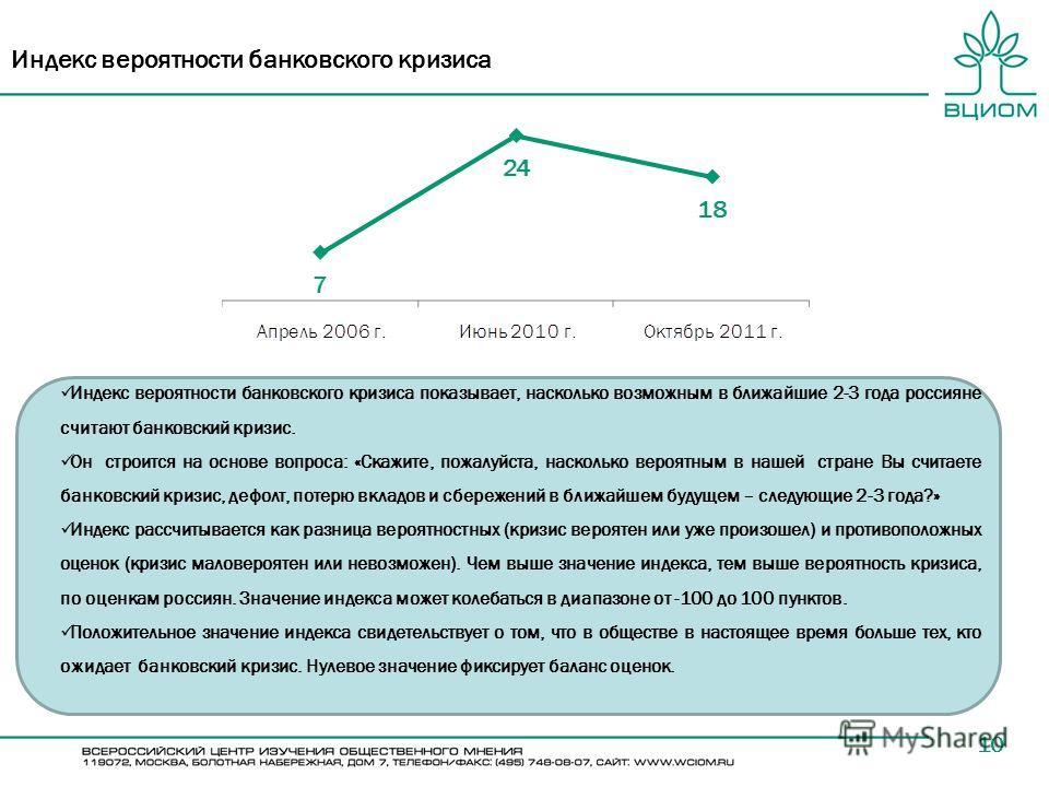 10 Индекс вероятности банковского кризиса Индекс вероятности банковского кризиса показывает, насколько возможным в ближайшие 2-3 года россияне считают банковский кризис. Он строится на основе вопроса: «Скажите, пожалуйста, насколько вероятным в нашей