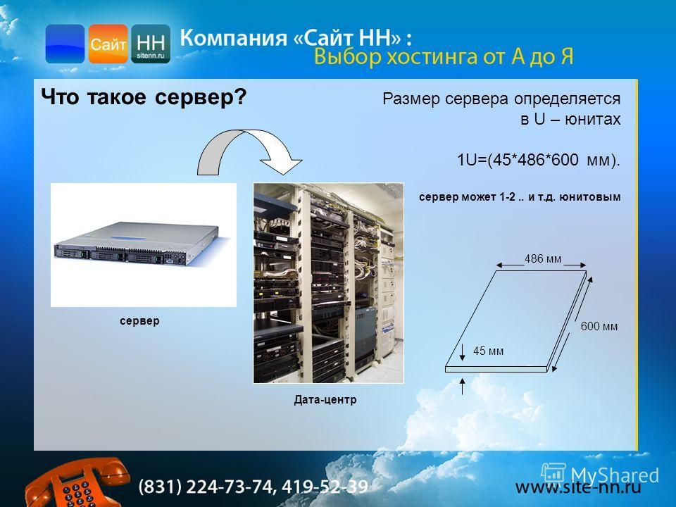 Что такое сервер? Размер сервера определяется в U – юнитах 1U=(45*486*600 мм). сервер может 1-2.. и т.д. юнитовым 486 мм 45 мм 600 мм сервер Дата-центр