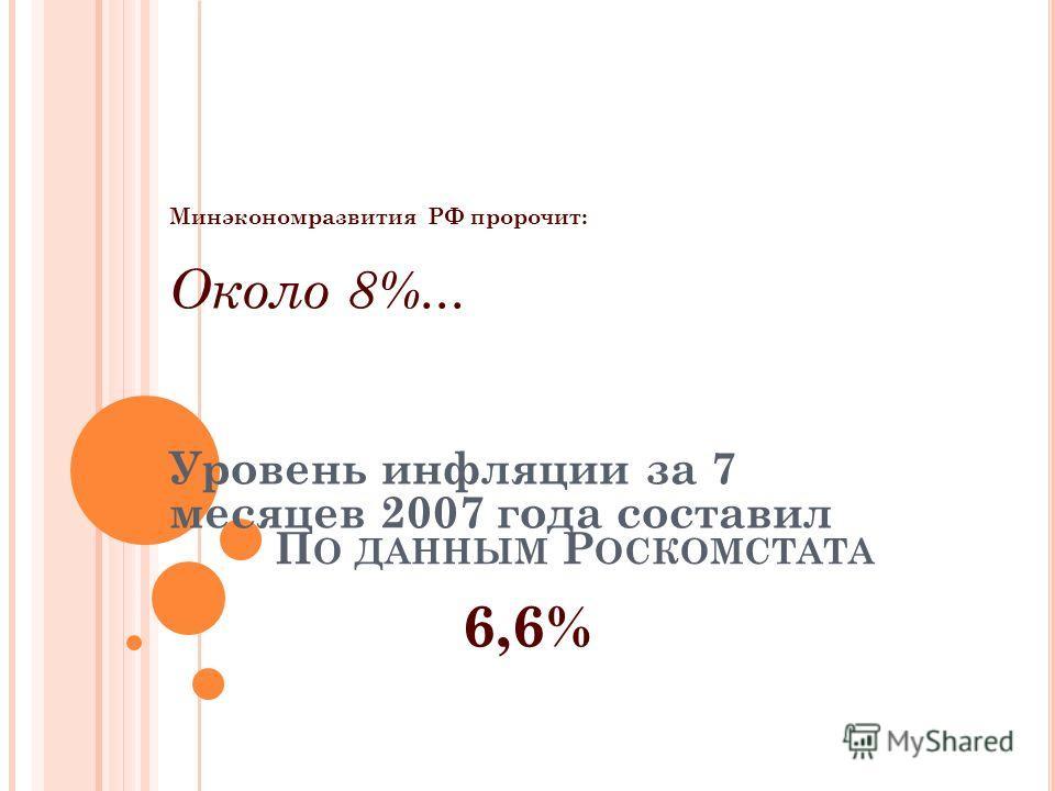 П О ДАННЫМ Р ОСКОМСТАТА Минэкономразвития РФ пророчит: Около 8%... Уровень инфляции за 7 месяцев 2007 года составил 6,6%