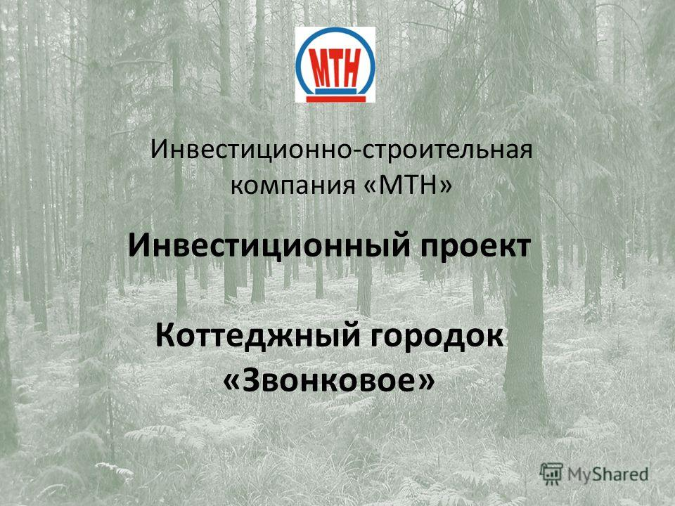 Инвестиционный проект Коттеджный городок «Звонковое» Инвестиционно-строительная компания «МТН»