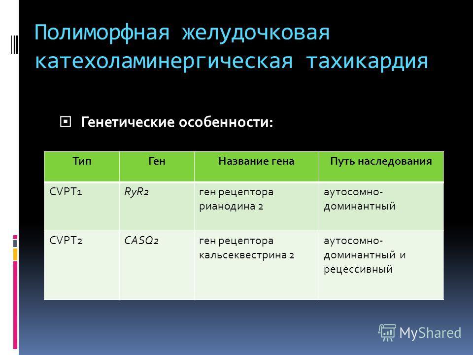 Полиморфная желудочковая катехоламинергическая тахикардия Генетические особенности: Генетические особенности: ТипГенНазвание генаПуть наследования CVPT1RyR2ген рецептора рианодина 2 аутосомно- доминантный CVPT2CASQ2ген рецептора кальсеквестрина 2 аут
