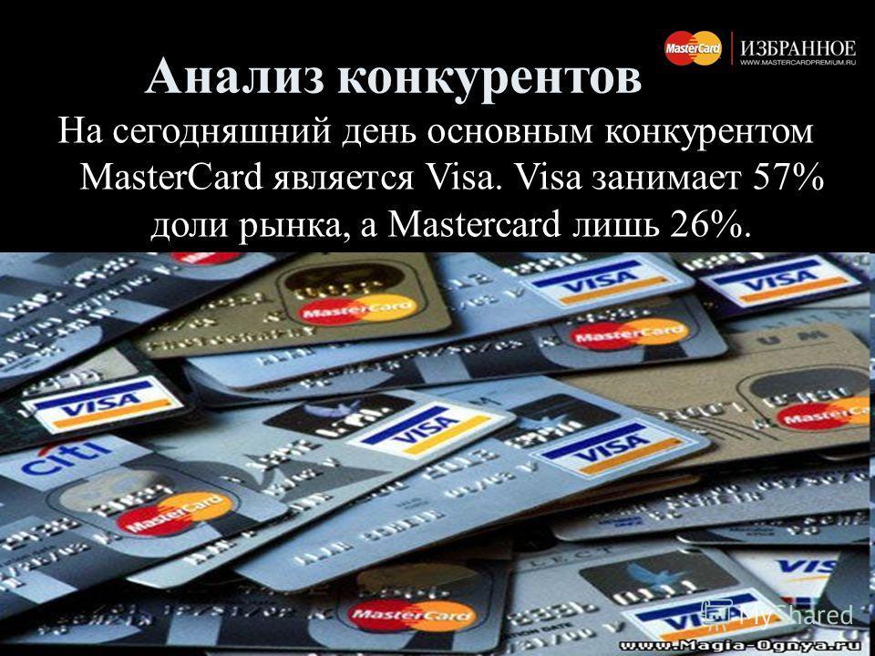 Анализ конкурентов На сегодняшний день основным конкурентом MasterCard является Visa. Visa занимает 57% доли рынка, а Mastercard лишь 26%.