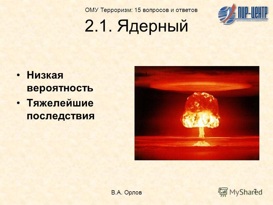 7 2.1. Ядерный Низкая вероятность Тяжелейшие последствия В.А. Орлов ОМУ Терроризм: 15 вопросов и ответов