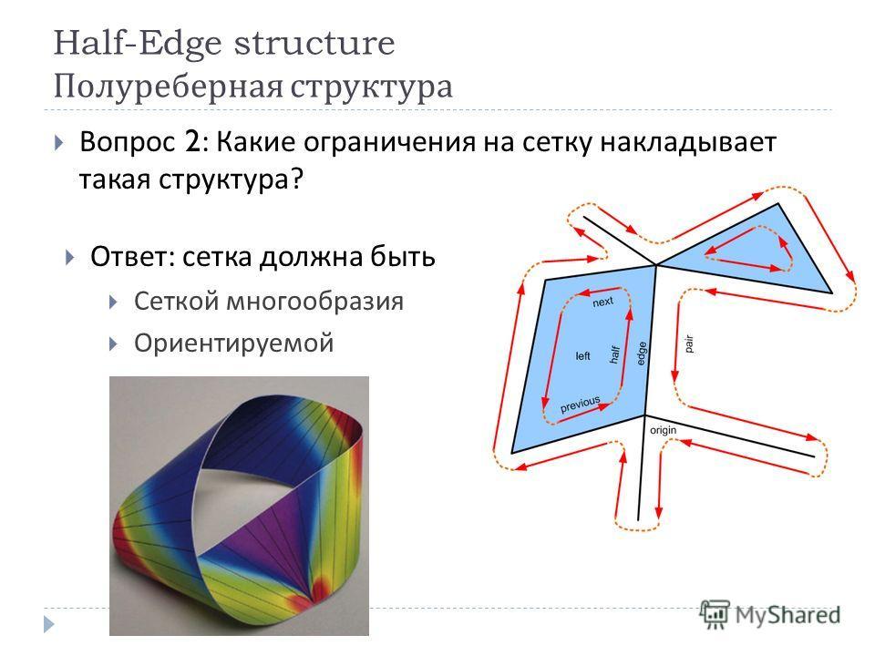 Half-Edge structure Полуреберная структура Вопрос 2: Какие ограничения на сетку накладывает такая структура ? Ответ : сетка должна быть Сеткой многообразия Ориентируемой