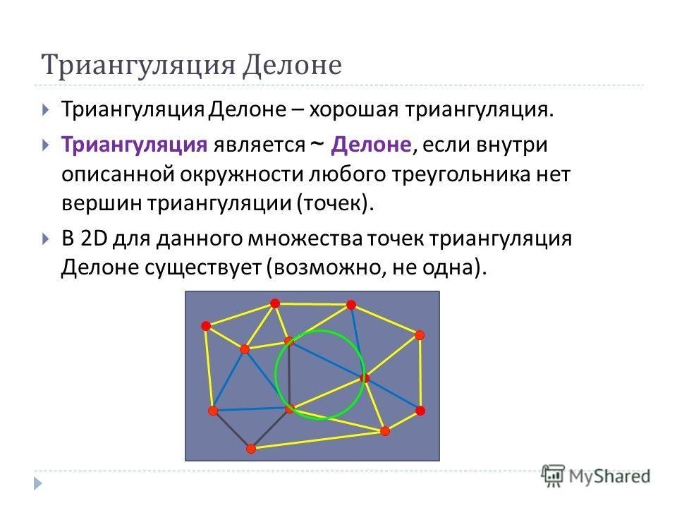 Триангуляция Делоне Триангуляция Делоне – хорошая триангуляция. Триангуляция является ~ Делоне, если внутри описанной окружности любого треугольника нет вершин триангуляции ( точек ). В 2 D для данного множества точек триангуляция Делоне существует (