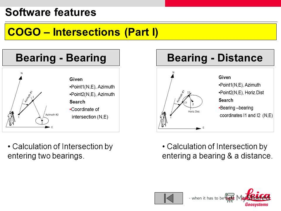 Software features COGO – Intersections (Part I) Bearing - DistanceBearing - Bearing Calculation of Intersection by entering two bearings. Calculation of Intersection by entering a bearing & a distance.
