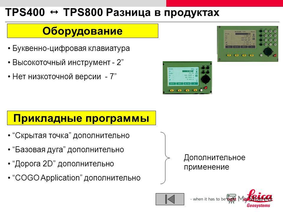 TPS400 TPS800 Разница в продуктах Буквенно-цифровая клавиатура Высокоточный инструмент - 2 Нет низкоточной версии - 7 Оборудование Прикладные программы Скрытая точка дополнительно Базовая дуга дополнительно Дорога 2D дополнительно COGO Application до