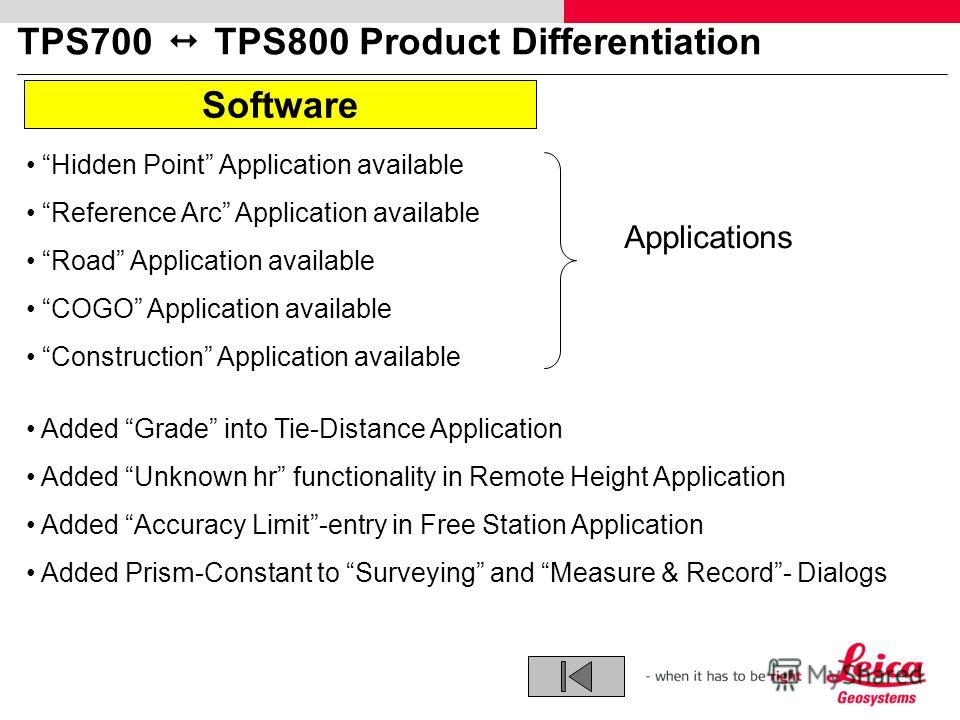 TPS700 TPS800 Product Differentiation Software Applications Hidden Point Application available Reference Arc Application available Road Application available COGO Application available Construction Application available Added Grade into Tie-Distance