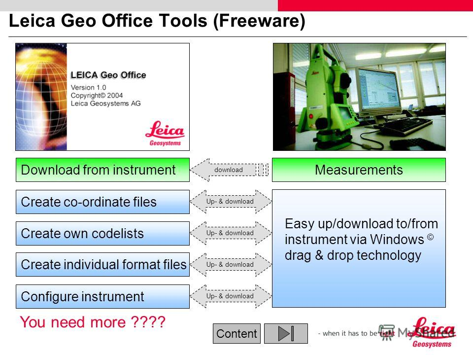 Leica Geo Office Tools (Freeware) Up- & download Create co-ordinate files Create own codelists Configure instrument Easy up/download to/from instrument via Windows © drag & drop technology Download from instrument download Up- & download Create indiv