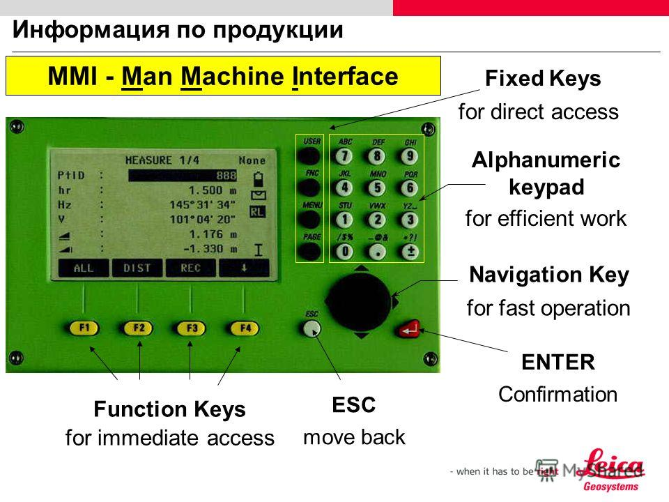 Информация по продукции Function Keys for immediate access Navigation Key for fast operation Fixed Keys for direct access ESC move back MMI - Man Machine Interface ENTER Confirmation Alphanumeric keypad for efficient work