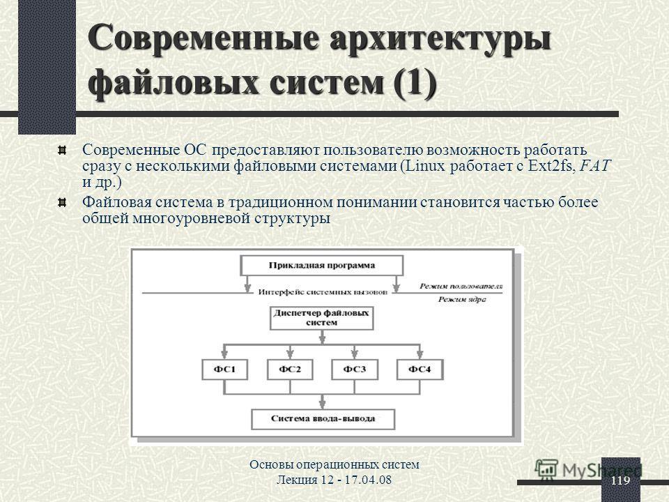 Основы операционных систем Лекция 12 - 17.04.08119 Современные архитектуры файловых систем (1) Современные ОС предоставляют пользователю возможность работать сразу с несколькими файловыми системами (Linux работает с Ext2fs, FAT и др.) Файловая систем