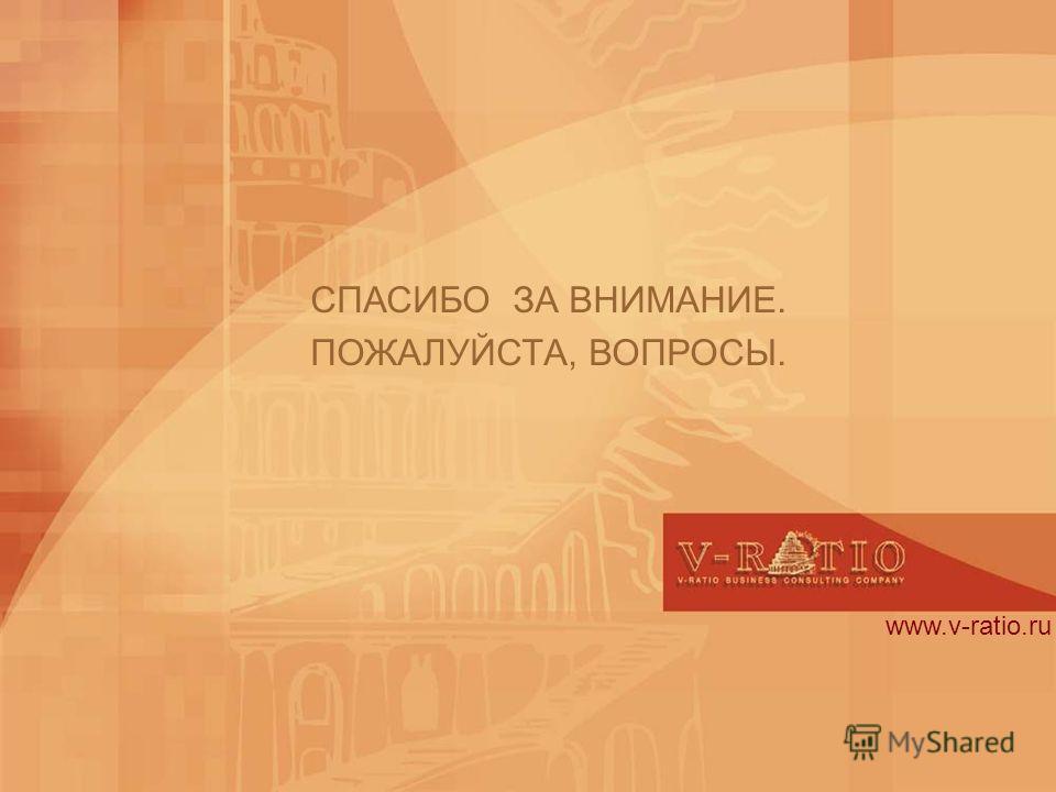 www.v-ratio.ru СПАСИБО ЗА ВНИМАНИЕ. ПОЖАЛУЙСТА, ВОПРОСЫ.