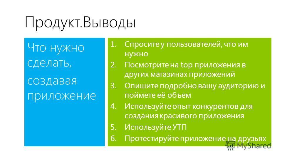 Продукт.Выводы Что нужно сделать, создавая приложение 1.Спросите у пользователей, что им нужно 2.Посмотрите на top приложения в других магазинах приложений 3.Опишите подробно вашу аудиторию и поймете её объем 4.Используйте опыт конкурентов для создан