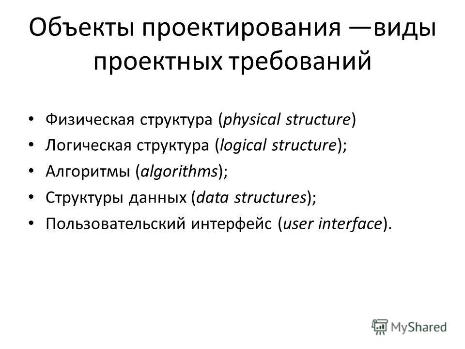 Объекты проектирования виды проектных требований Физическая структура (physical structure) Логическая структура (logical structure); Алгоритмы (algorithms); Структуры данных (data structures); Пользовательский интерфейс (user interface).