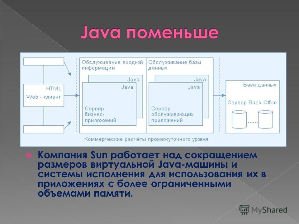 Компания Sun работает над сокращением размеров виртуальной Java-машины и системы исполнения для использования их в приложениях с более ограниченными объемами памяти.