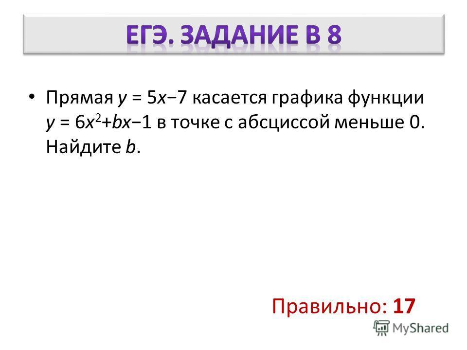 Прямая y = 5x7 касается графика функции y = 6x 2 +bx1 в точке с абсциссой меньше 0. Найдите b. Правильно: 17
