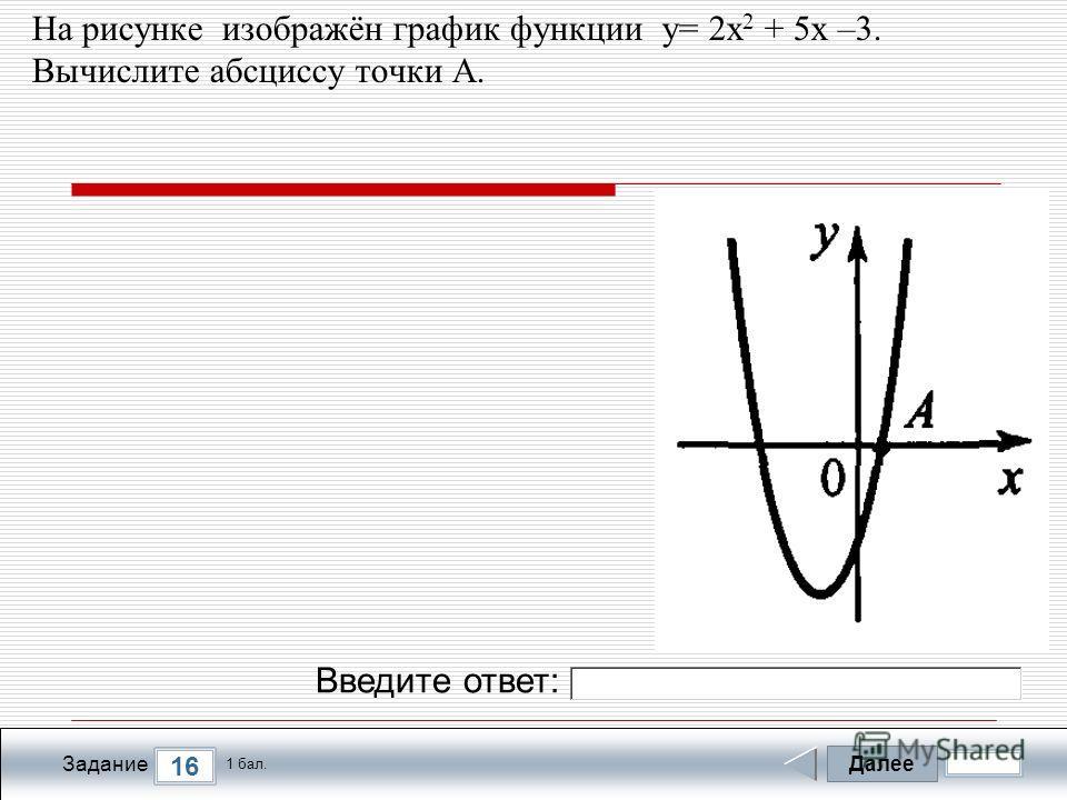 Далее 16 Задание 1 бал. Введите ответ: На рисунке изображён график функции у= 2х 2 + 5х –3. Вычислите абcциссу точки A.