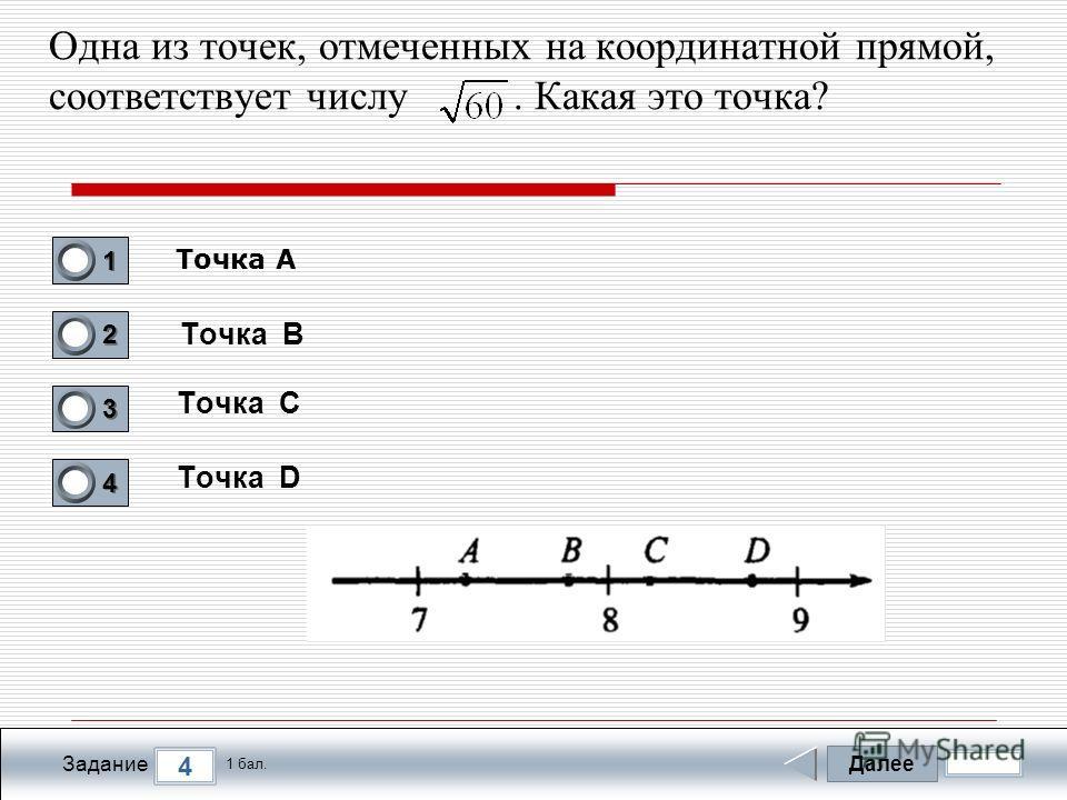 Далее 4 Задание 1 бал. 1111 2222 3333 4444 Одна из точек, отмеченных на координатной прямой, соответствует числу. Какая это точка? Точка B Точка C Точка D Точка А
