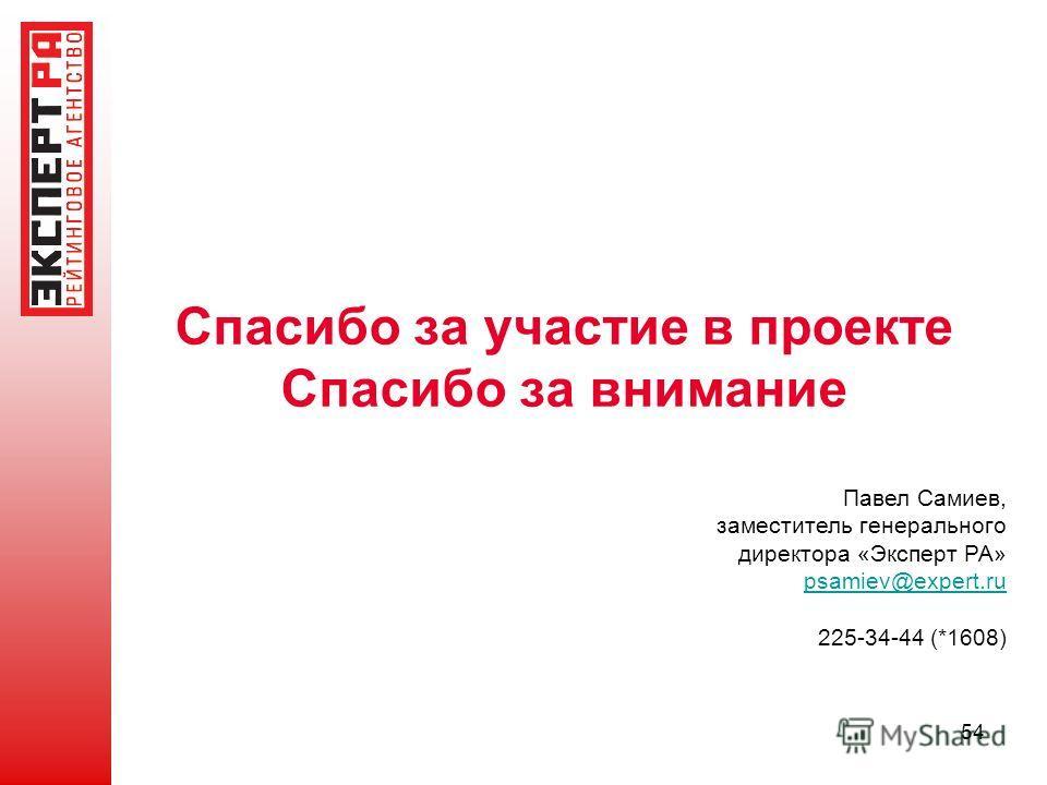 Спасибо за участие в проекте Спасибо за внимание 54 Павел Самиев, заместитель генерального директора «Эксперт РА» psamiev@expert.ru 225-34-44 (*1608)