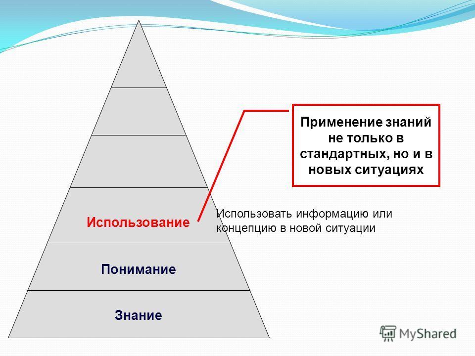 Использование Понимание Знание Применение знаний не только в стандартных, но и в новых ситуациях Использовать информацию или концепцию в новой ситуации