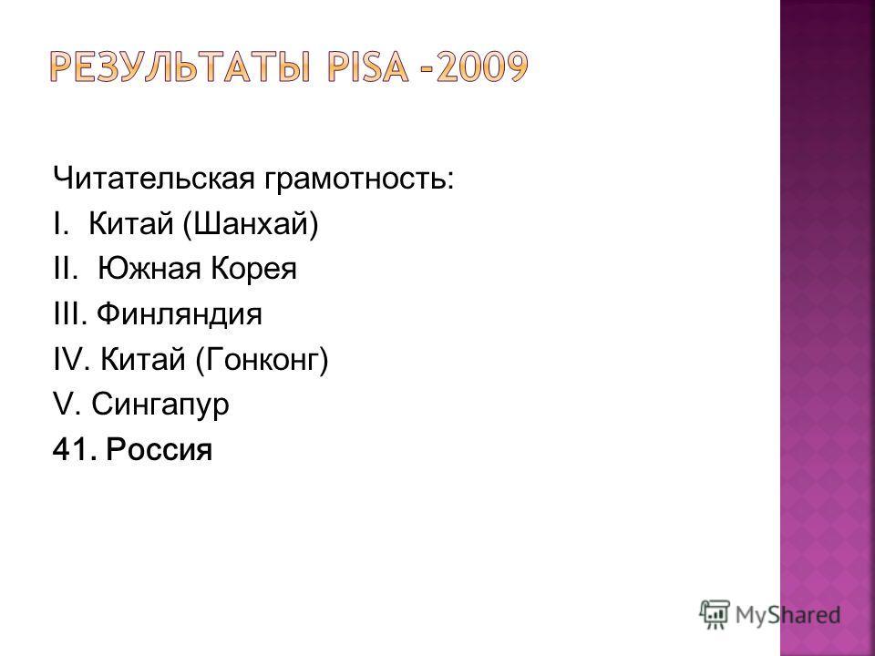 Читательская грамотность: I. Китай (Шанхай) II. Южная Корея III. Финляндия IV. Китай (Гонконг) V. Сингапур 41. Россия