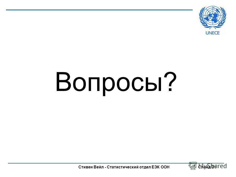 Стивен Вейл - Статистический отдел ЕЭК ООН Слайд 21 Вопросы?