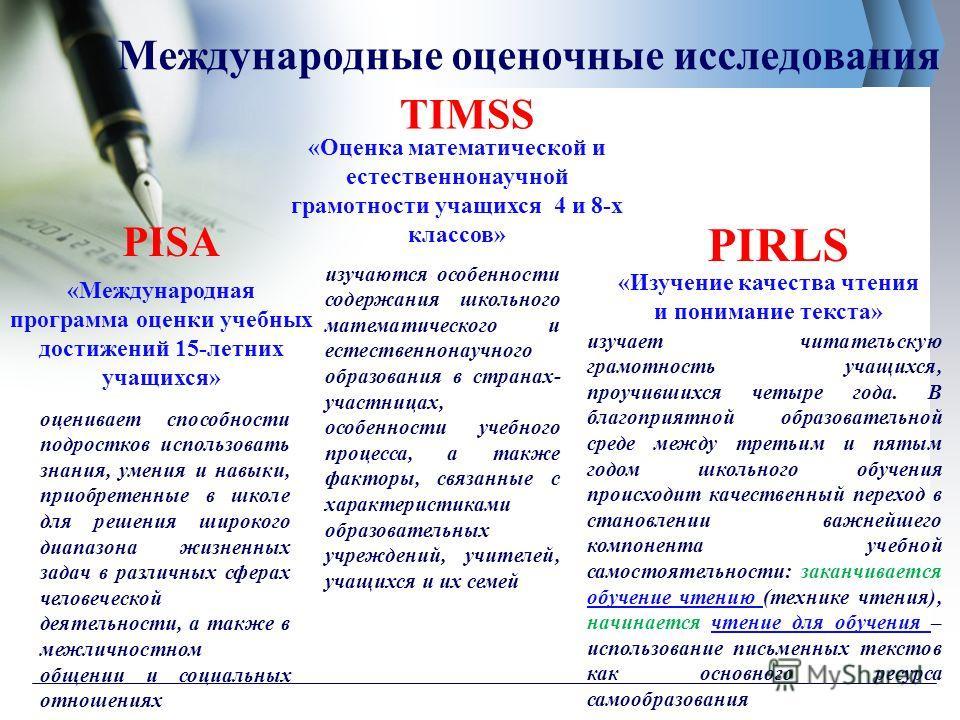 Международные оценочные исследования PISA TIMSS PIRLS «Международная программа оценки учебных достижений 15-летних учащихся» оценивает способности подростков использовать знания, умения и навыки, приобретенные в школе для решения широкого диапазона ж