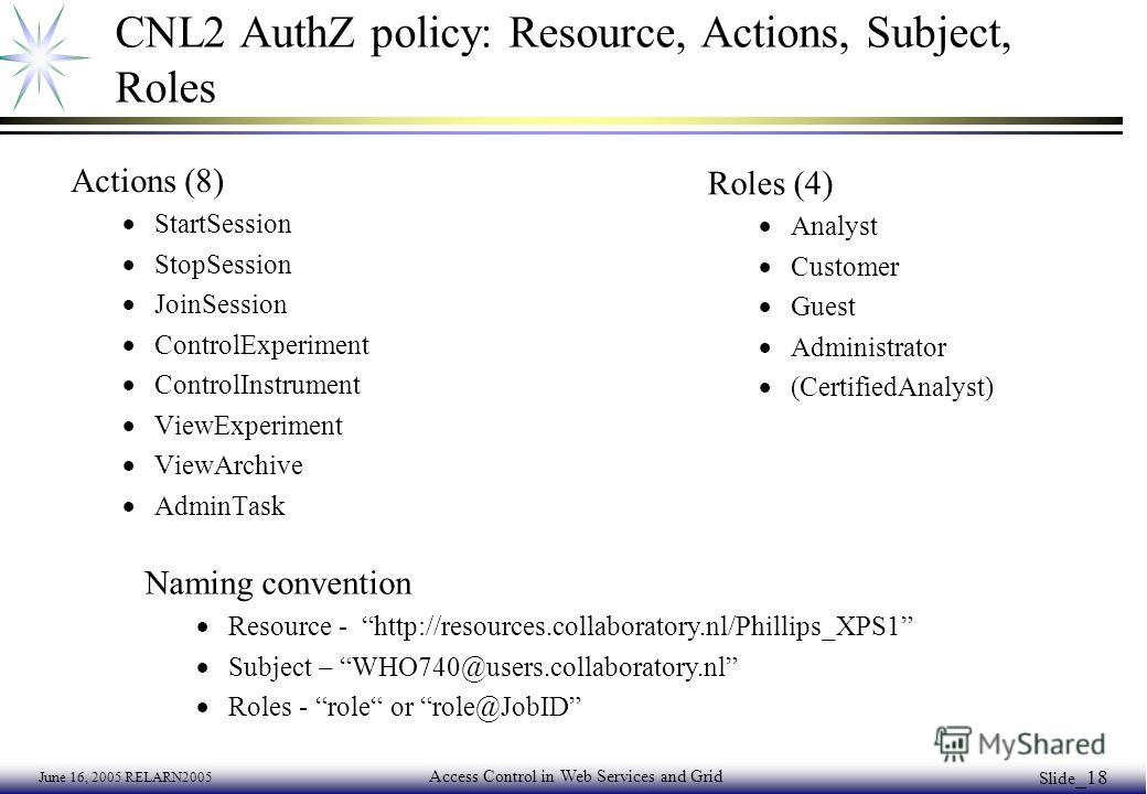 June 16, 2005 RELARN2005 Access Control in Web Services and Grid Slide _18 CNL2 AuthZ policy: Resource, Actions, Subject, Roles Actions (8) StartSession StopSession JoinSession ControlExperiment ControlInstrument ViewExperiment ViewArchive AdminTask
