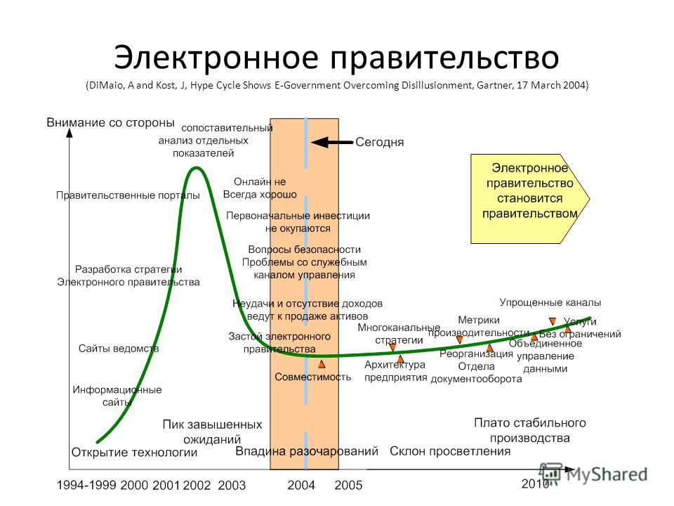 Электронное правительство (DiMaio, A and Kost, J, Hype Cycle Shows E-Government Overcoming Disillusionment, Gartner, 17 March 2004)