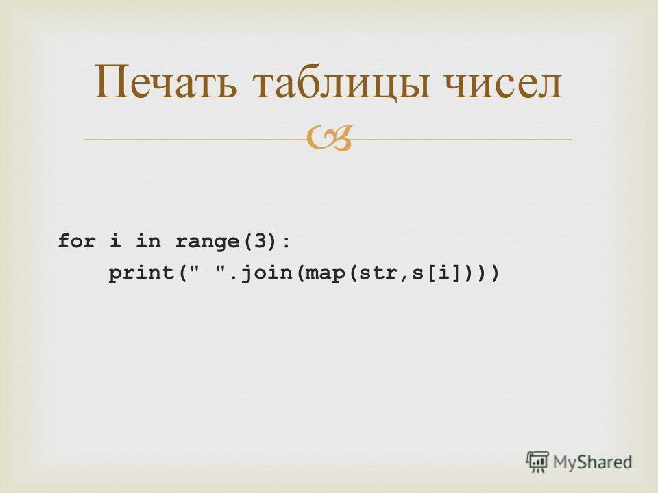 for i in range(3): print( .join(map(str,s[i]))) Печать таблицы чисел
