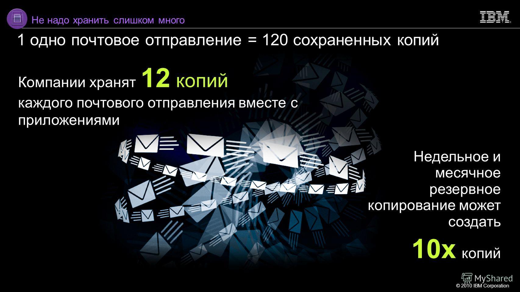 © 2010 IBM Corporation 8 Компании хранят 12 копий каждого почтового отправления вместе с приложениями Недельное и месячное резервное копирование может создать 10x копий Не надо хранить слишком много 1 одно почтовое отправление = 120 сохраненных копий