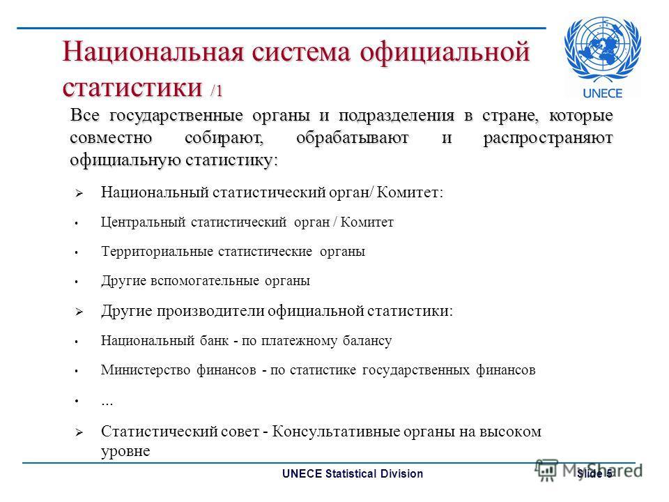 UNECE Statistical Division Slide 5 Национальная система официальной статистики /1 Национальный статистический орган/ Комитет: Центральный статистический орган / Комитет Территориальные статистические органы Другие вспомогательные органы Другие произв