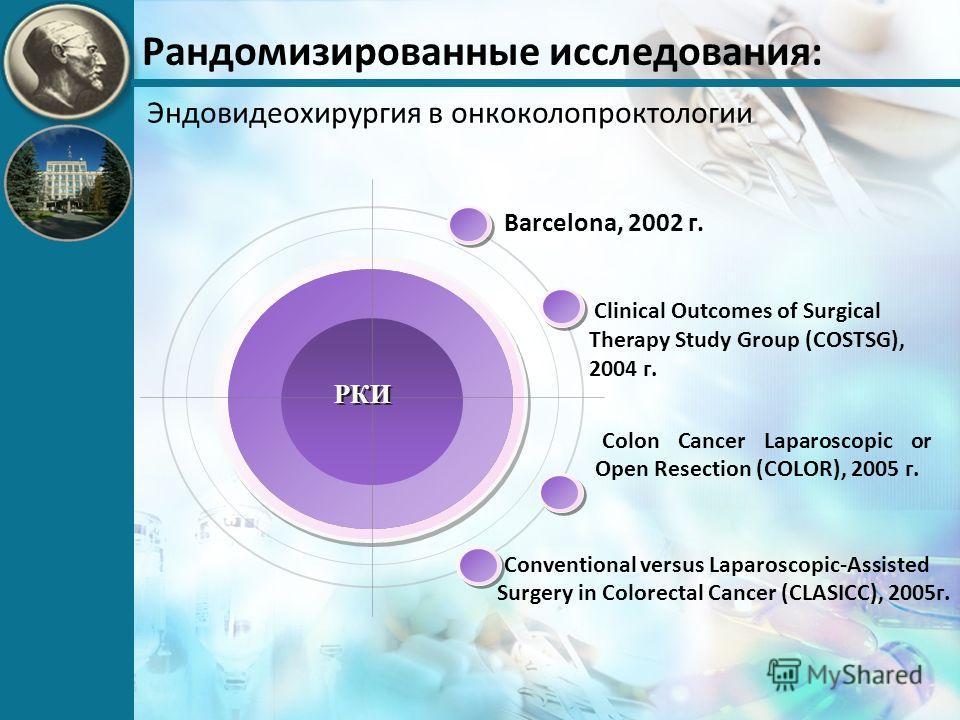 Рандомизированные исследования: Эндовидеохирургия в онкоколопроктологии Barcelona, 2002 г. Colon Cancer Laparoscopic or Open Resection (COLOR), 2005 г. Clinical Outcomes of Surgical Therapy Study Group (COSTSG), 2004 г. Conventional versus Laparoscop