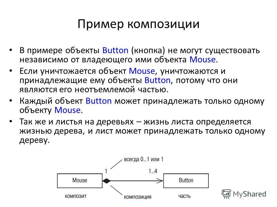 Пример композиции В примере объекты Button (кнопка) не могут существовать независимо от владеющего ими объекта Mouse. Если уничтожается объект Mouse, уничтожаются и принадлежащие ему объекты Button, потому что они являются его неотъемлемой частью. Ка