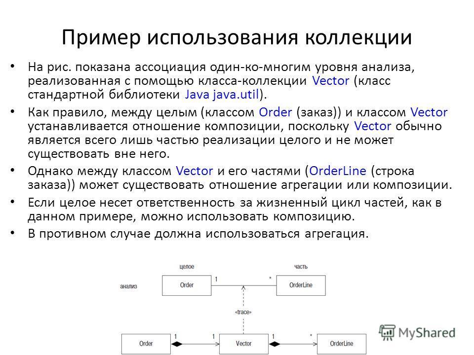 Пример использования коллекции На рис. показана ассоциация один-ко-многим уровня анализа, реализованная с помощью класса-коллекции Vector (класс стандартной библиотеки Java java.util). Как правило, между целым (классом Order (заказ)) и классом Vector