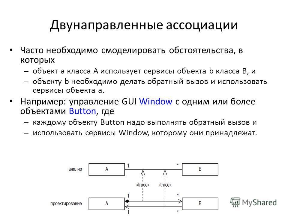 Двунаправленные ассоциации Часто необходимо смоделировать обстоятельства, в которых – объект а класса А использует сервисы объекта b класса В, и – объекту b необходимо делать обратный вызов и использовать сервисы объекта а. Например: управление GUI W