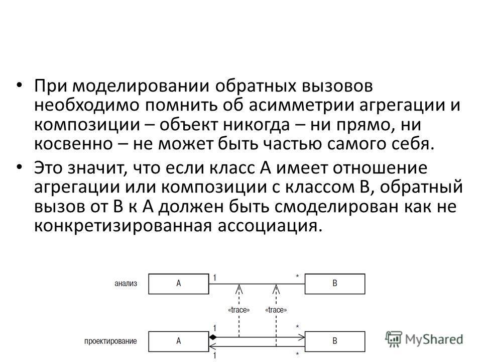 При моделировании обратных вызовов необходимо помнить об асимметрии агрегации и композиции – объект никогда – ни прямо, ни косвенно – не может быть частью самого себя. Это значит, что если класс А имеет отношение агрегации или композиции с классом В,